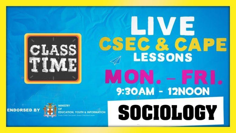 CAPE Sociology 11:15AM-12:00PM | Educating a Nation - November 6 2020 1