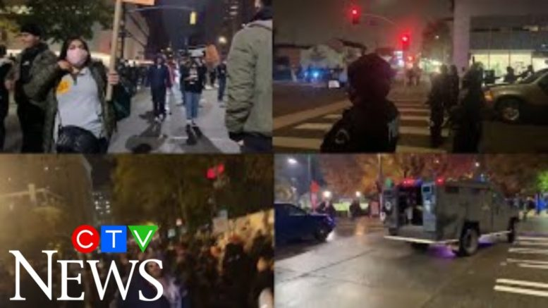 Violent scuffles and arrests broke out at protests held in cities across the U.S. on election night 1
