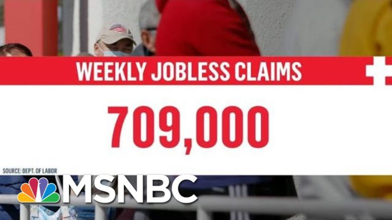 709,000 Newly Unemployed Americans File For Jobless Claims | Stephanie Ruhle | MSNBC 1