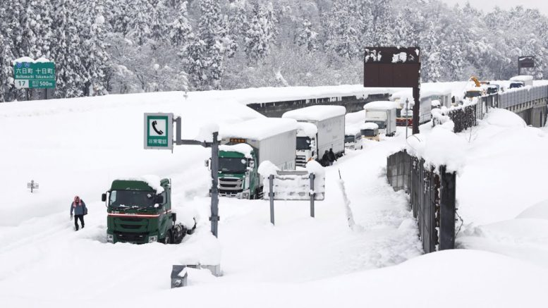 Snowstorm leaves thousands of vehicles stranded in Japan 1