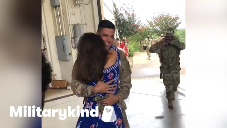 Wife jumps into soldier's arms after a year apart   Militarykind 1