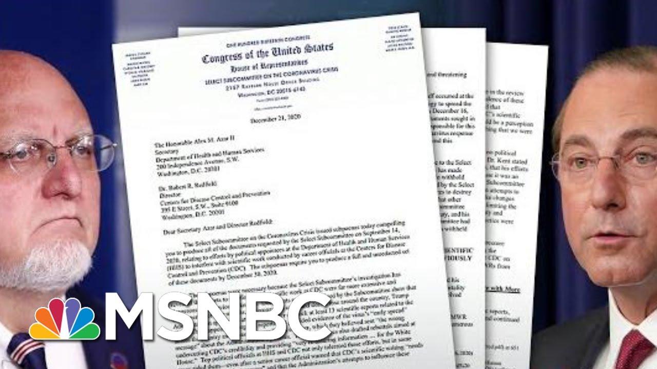 House Committee Subpoenas HHS secretary, CDC Director Over Covid Response | Hallie Jackson | MSNBC 1