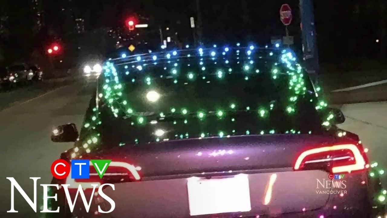 Tesla driver fined for having car lit up like Christmas tree 1