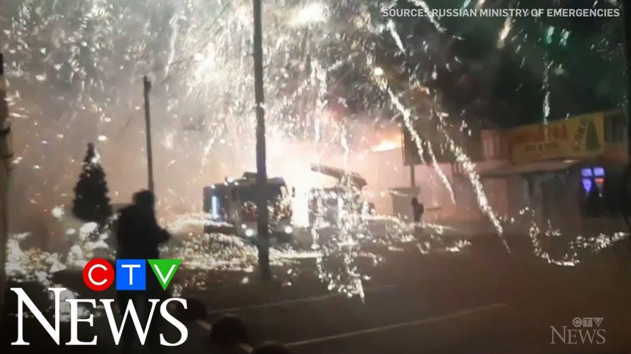 Unexpected firework display as crews battle blaze 1