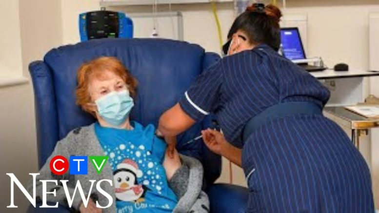 Moment patient gets first COVID-19 vaccine shot in U.K. 1
