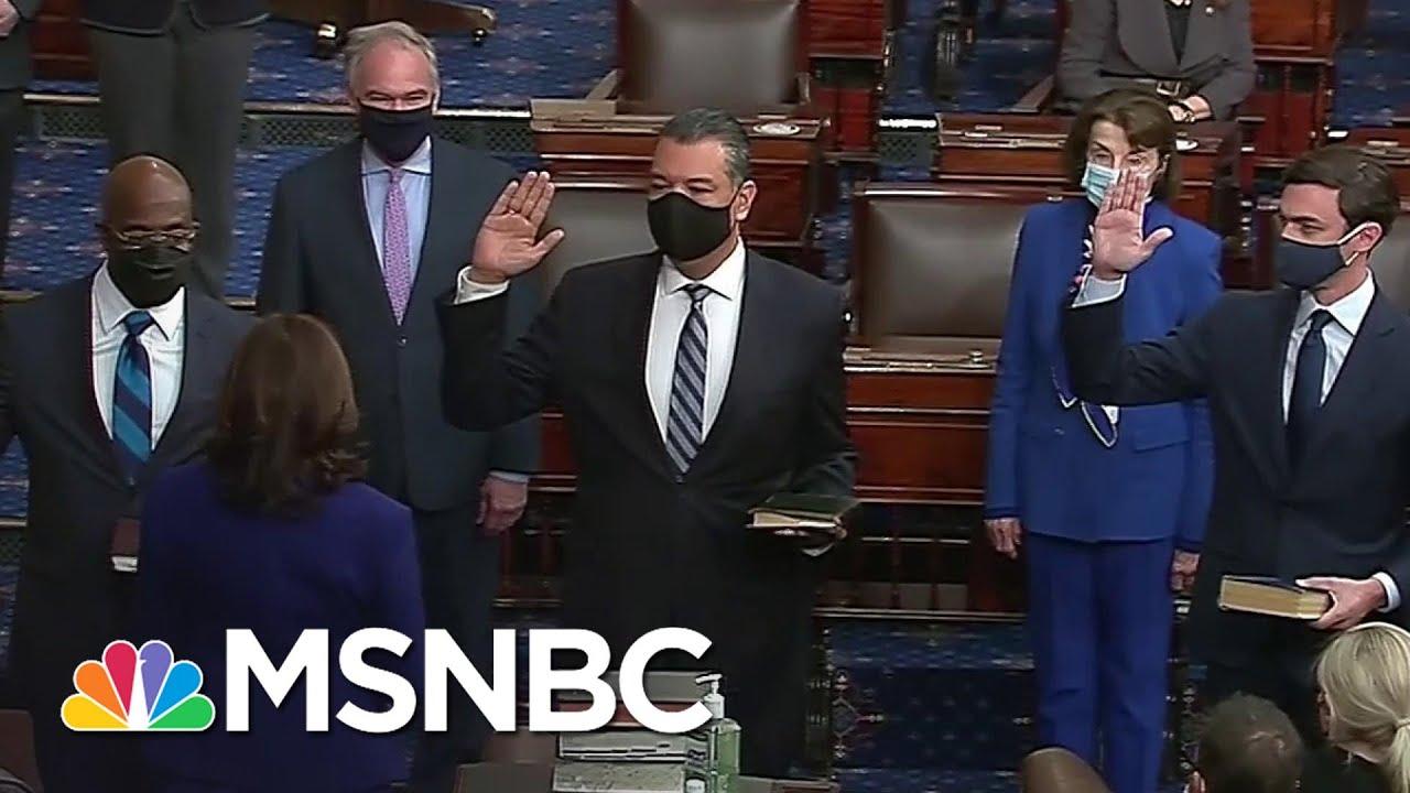 Kamala Harris Swears In Padilla, Ossoff And Warnock, Officially Giving Dems Senate Control | MSNBC 1