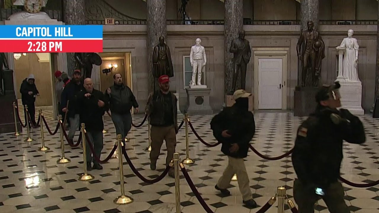 Rioters Walk Through Capitol Building, Statuary Hall Outside of House Chamber   MSNBC 1