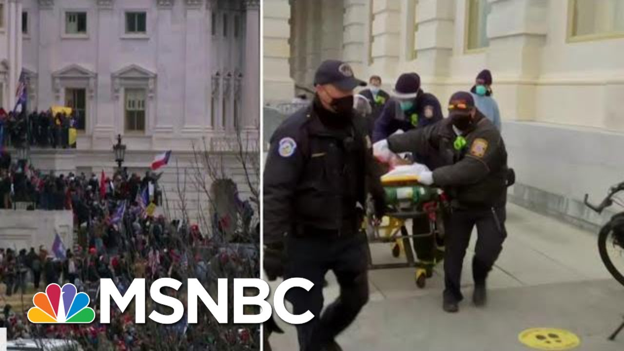 """Woman Rushed Out Of Capitol Building On A Stretcher, """"Covered In Blood""""   MTP Daily   MSNBC 1"""