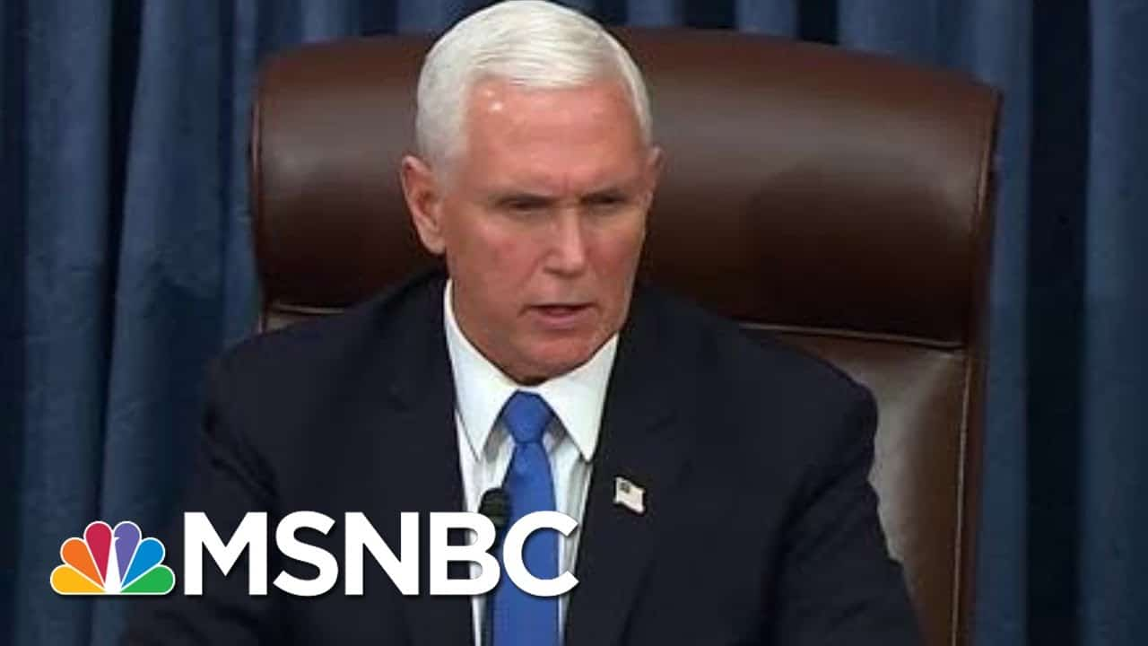 """""""Violence Never Wins"""": Pence Condemns Trump Mob As Senate Resumes Business   MSNBC 6"""