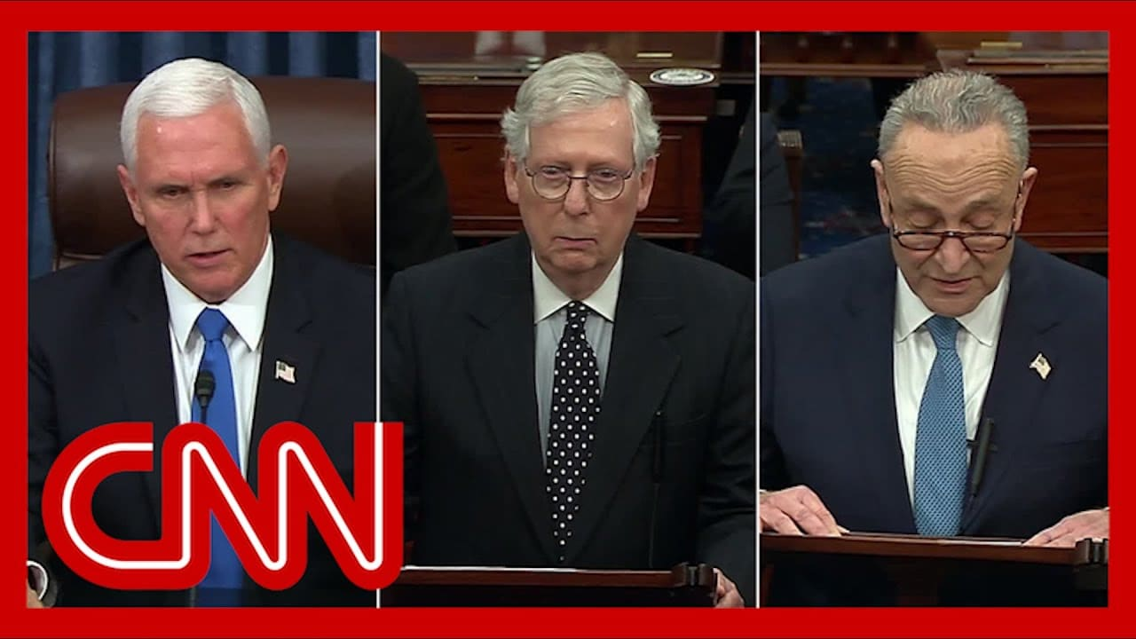 Pence, McConnell and Schumer address Senate floor as Electoral College certification resumes 1