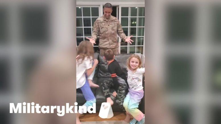 Deployed dad's return leaves children speechless | Militaryind 1