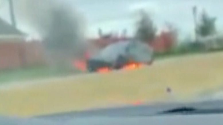 Footage shows Tesla Model S burst into flames on Texas highway 1