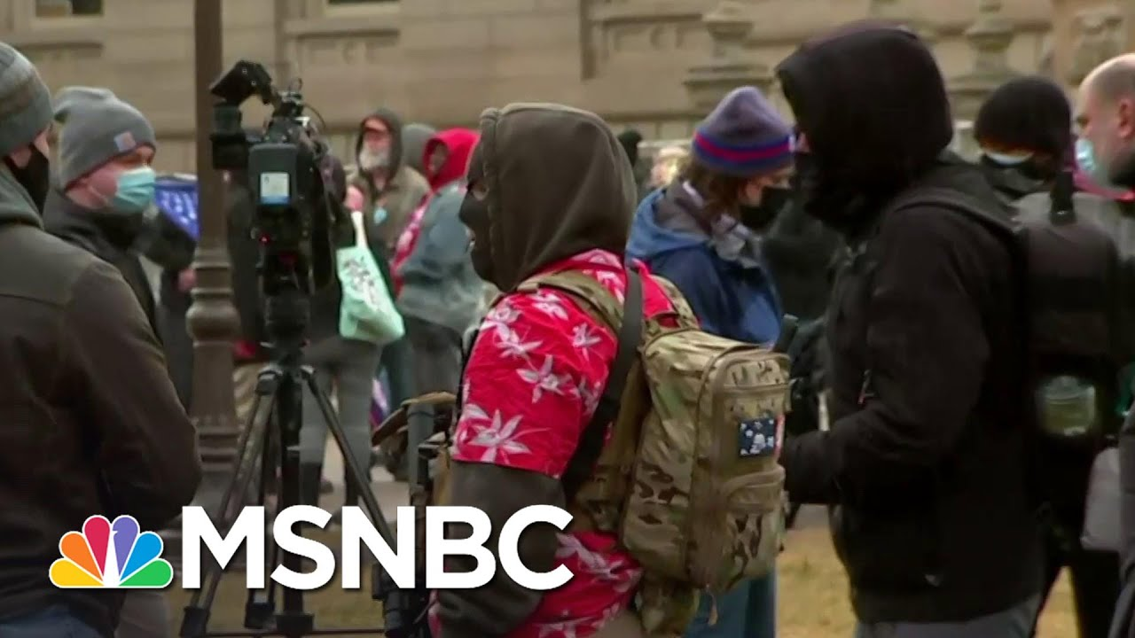 Armed Protesters Arrive At Michigan Capitol | MSNBC 3
