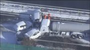 One dead after 130-car pileup on snowy Japan highway 5