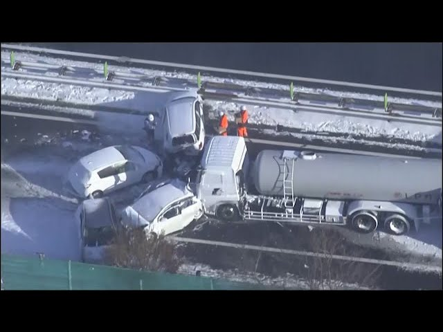 One dead after 130-car pileup on snowy Japan highway 1