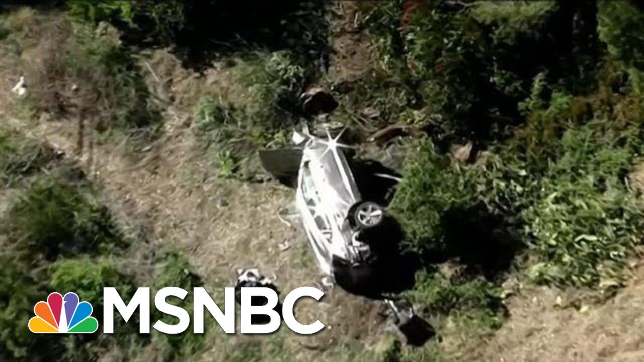 See Aerials Of Tiger Woods Car Accident Wreckage Near Los Angeles   Katy Tur   MSNBC 1