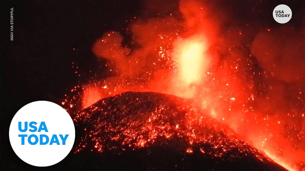 Mount Etna erupts for 4th time in a week, debris shoots over 1 kilometer above volcano   USA TODAY 1