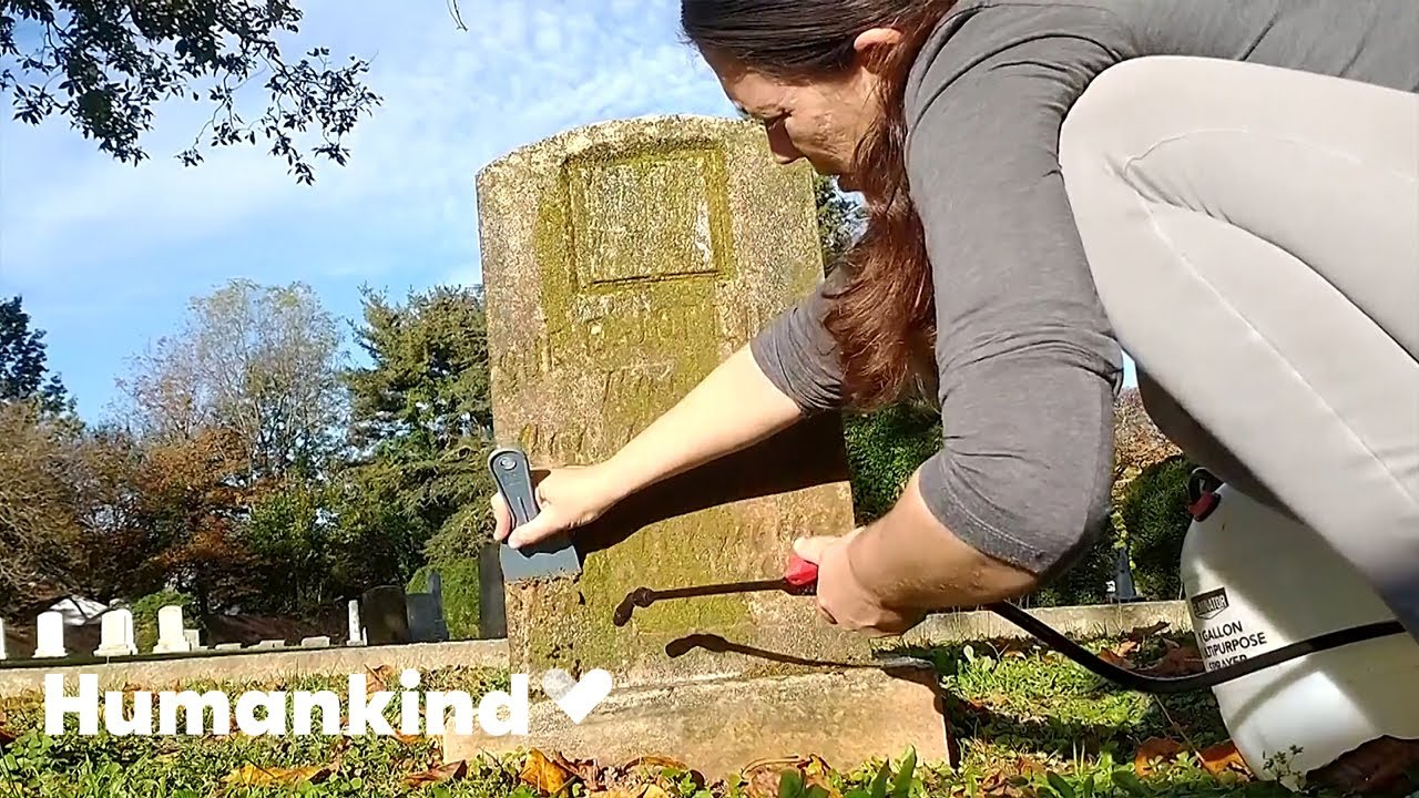 Woman cleaning grave markers is oddly satisfying | Humankind 1