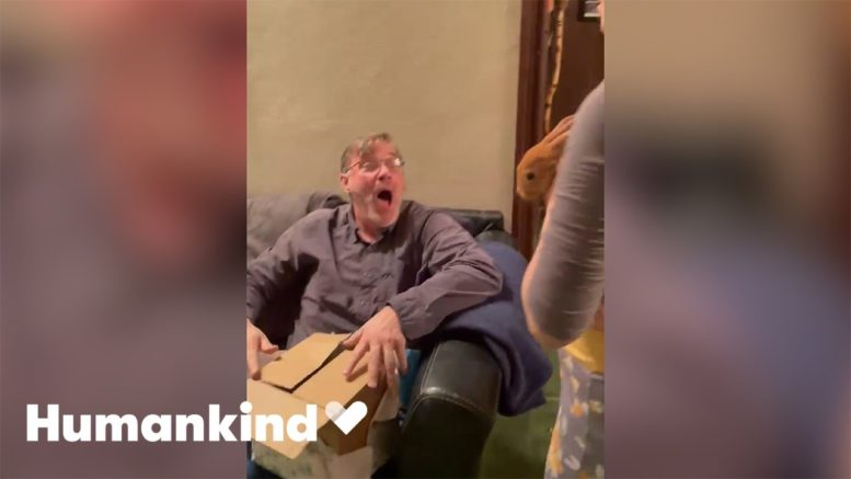 Dad squeals with delight when gifted rabbit | Humankind 1