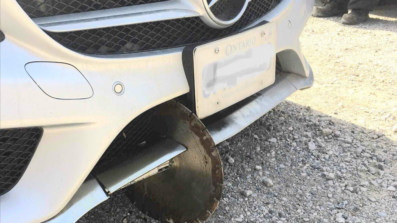 Saw blade flies off vehicle into Brampton, Ont. woman's car 1
