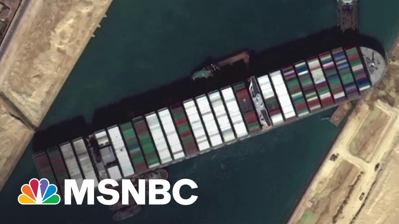 Crews Manage To Move Cargo Ship Stuck in Suez Canal 30 Yards | MSNBC 1