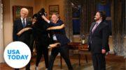 Martin Short's Doug Emhoff gets mauled by Biden's dog Major on 'SNL'   USA TODAY 2
