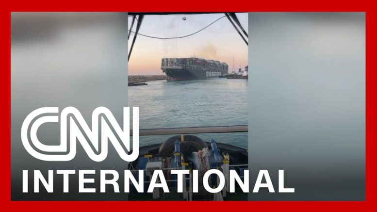 Video shows stern of ship mostly dislodged from Suez Canal bank 1