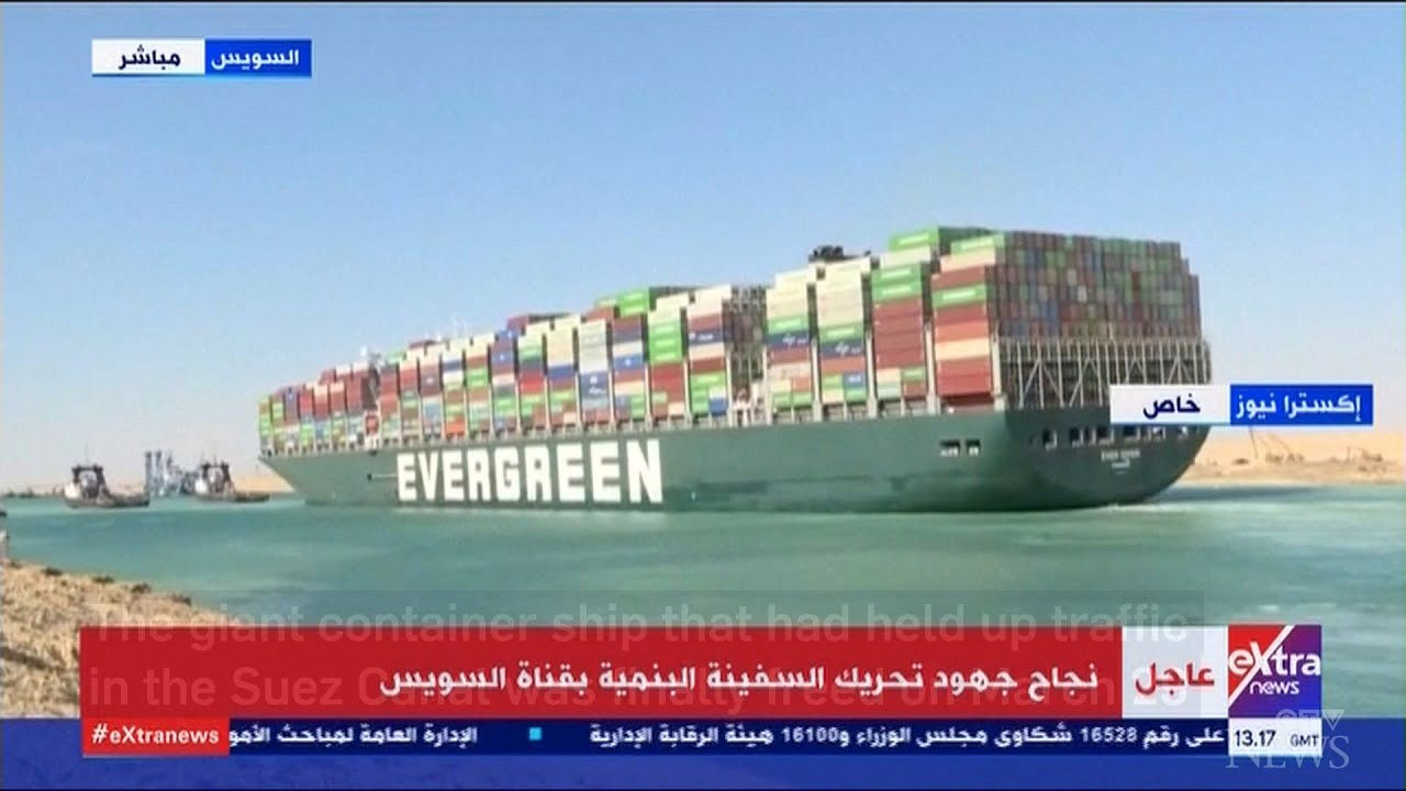 Giant container ship stuck in Suez Canal freed 1