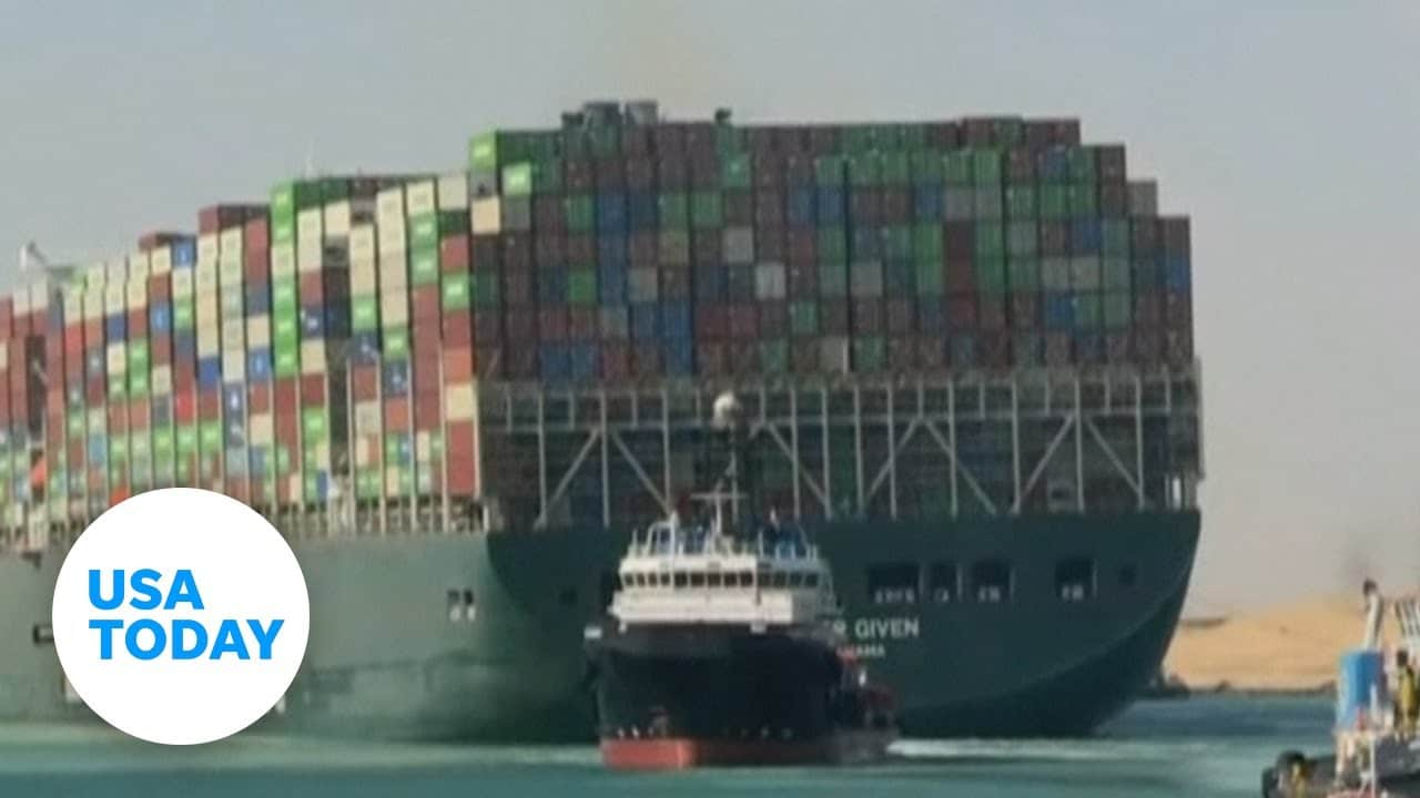 Suez Canal: Stuck container ship Ever Given free and on the move   USA TODAY 1