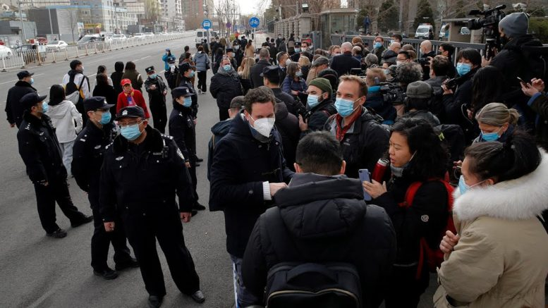 Reps from 26 countries show support for Michael Kovrig outside a Beijing court 1