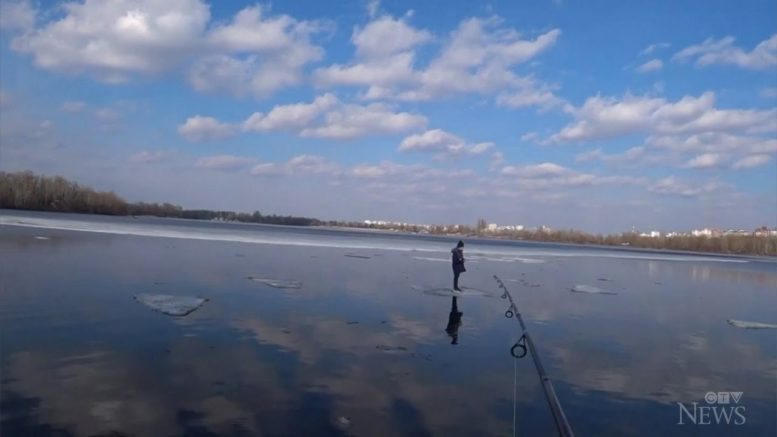 Fishing rod used to save Ukrainian boy on floating ice block 1
