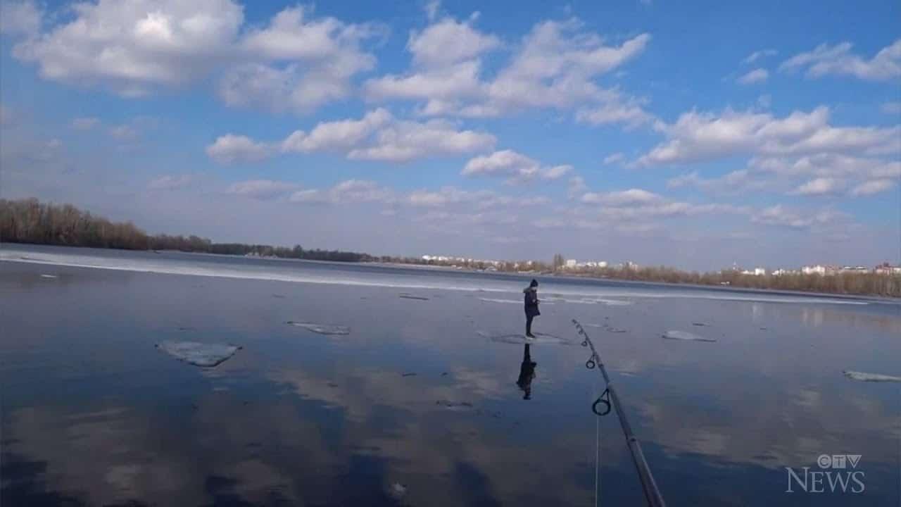 Fishing rod used to save Ukrainian boy on floating ice block 9