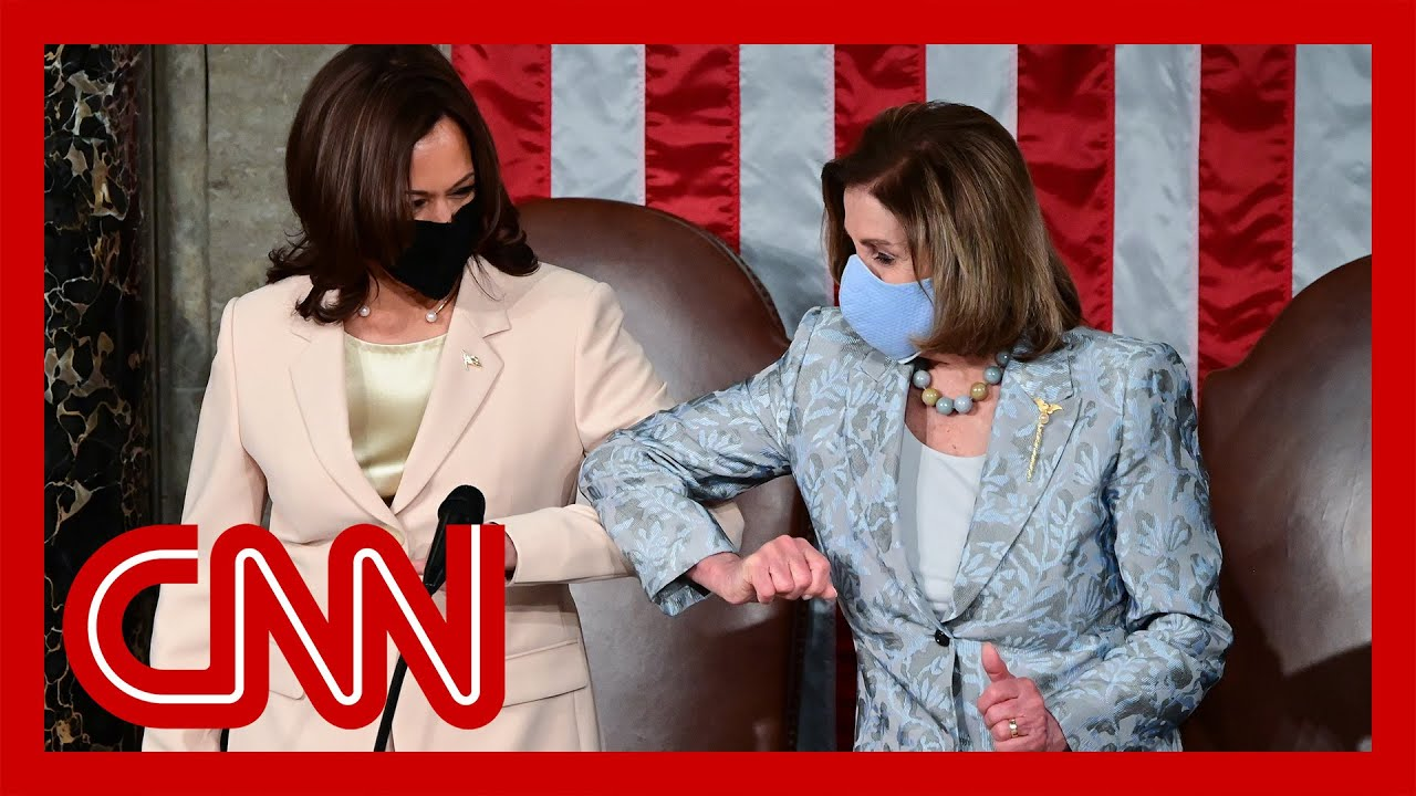 Watch Harris and Pelosi make history as first women behind President in joint-session address 1