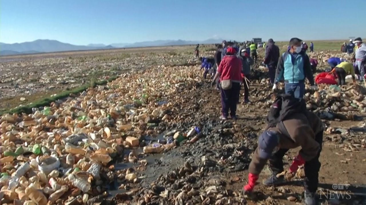 Volunteers clean up highly-polluted Bolivian lake 1