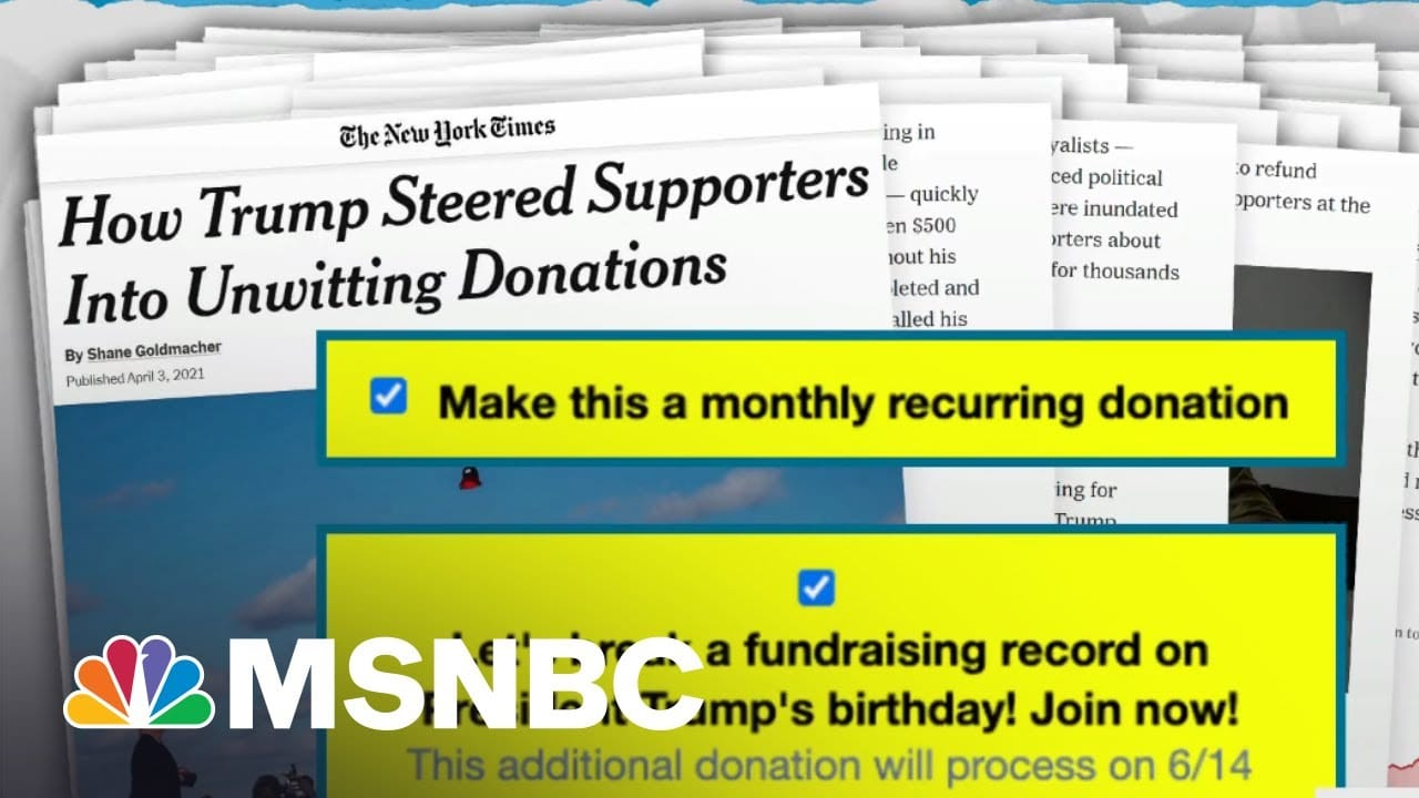 Scammy Trump Campaign Repeat Donation Trick Made Even More Predatory On GOP Site   Rachel Maddow 5