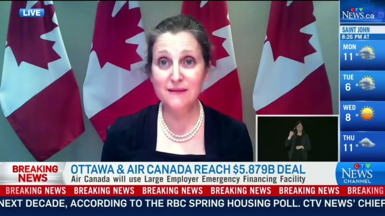 Freeland outlines strict conditions for new Air Canada's COVID-19 aid package 1