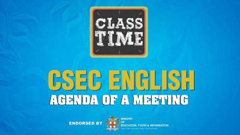 CSEC English - Agenda of a Meeting - April 16 2021 1