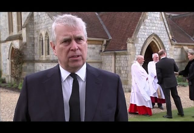 Watch Prince Andrew react to the death of his father, Prince Philip 1