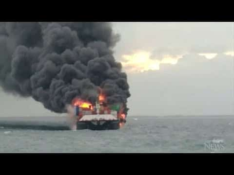 Crew rescued from burning ship off Sri Lanka 5