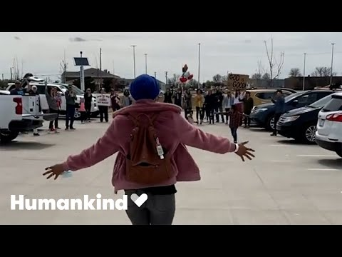 Cancer survivor surprised with parking lot party | Humankind 3