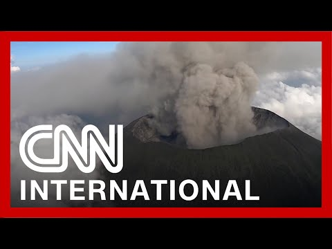 Remarkable aerial video shows volcano spewing ash 1
