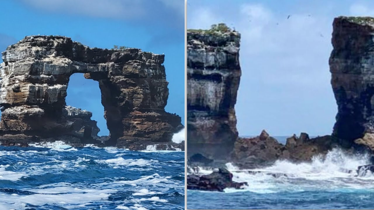 Natural erosion causes collapse of Darwin's Arch in the Galapagos Islands 1