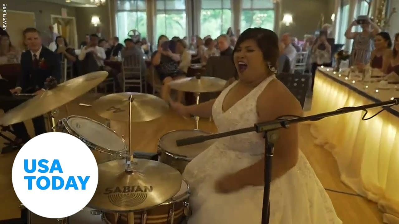 Bride shows off incredible drum skills on wedding day   USA TODAY 1
