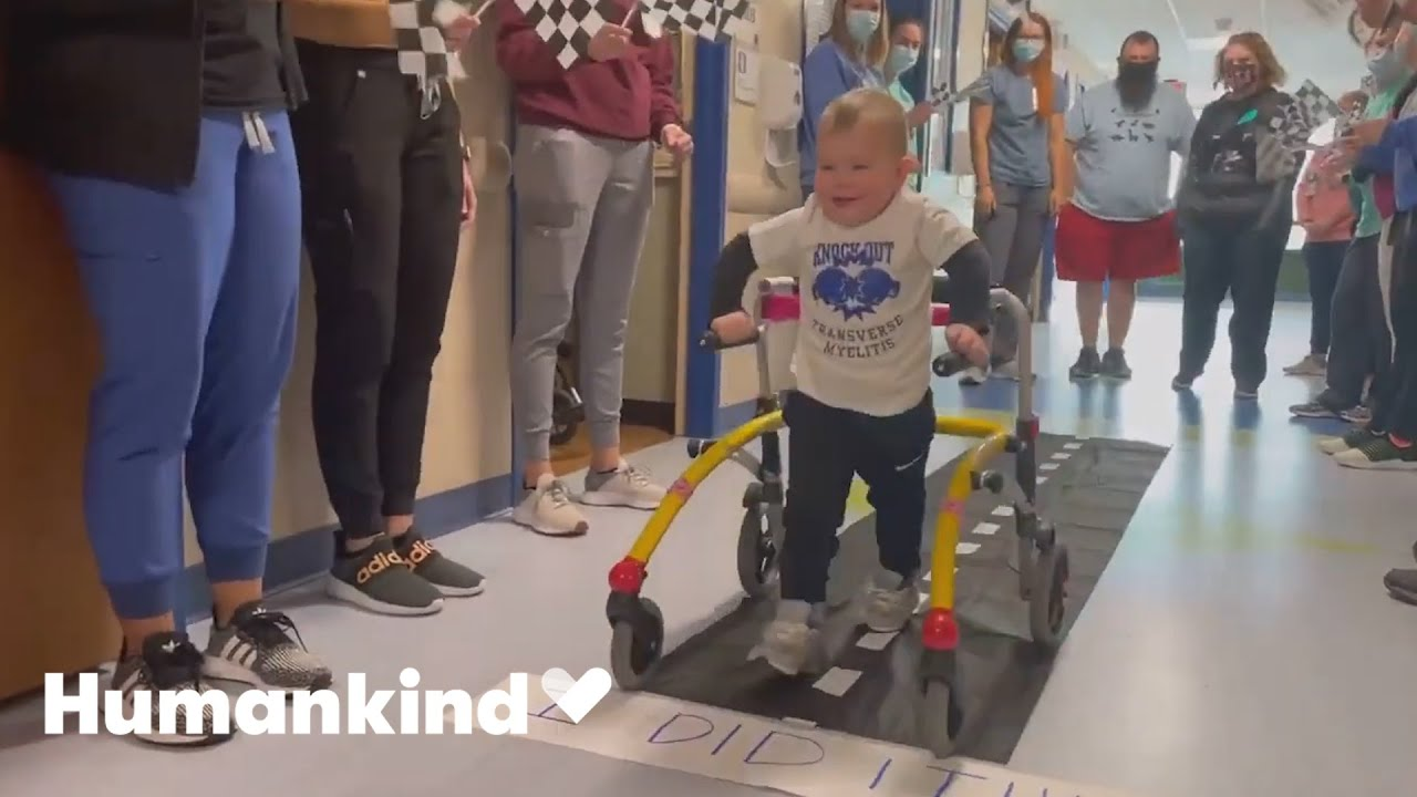 Paralyzed toddler learns to walk again | Humankind 7