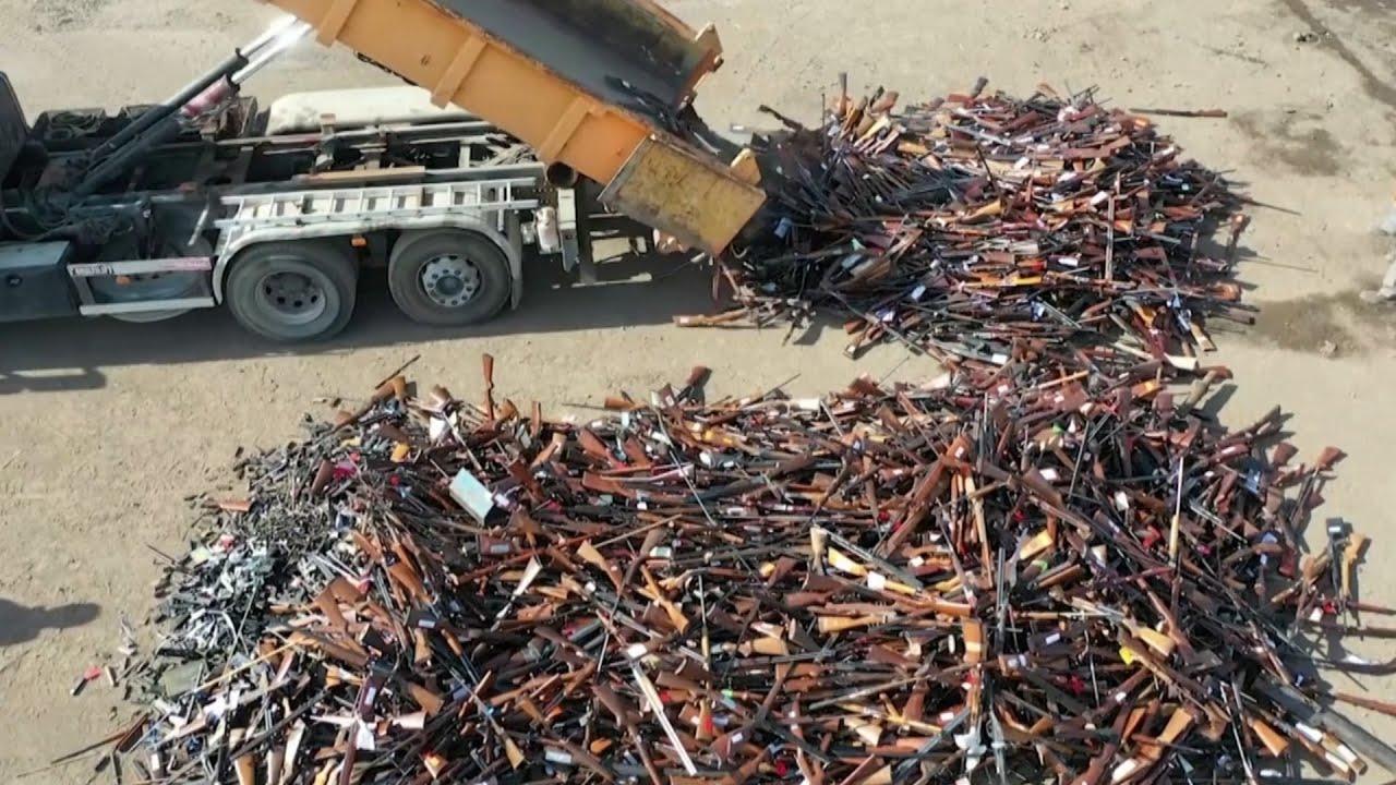 Belgian authorities melt 22,000 guns into 60 tons of steel 1