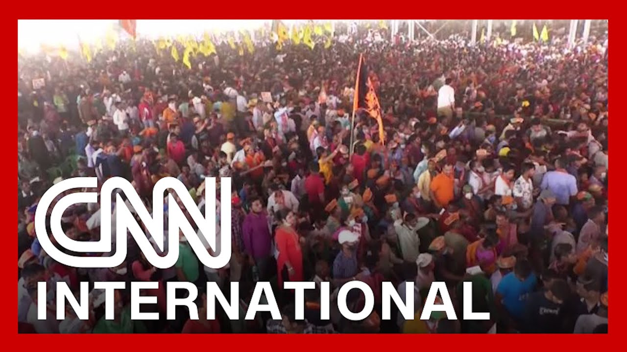 India's leader holds rally with thousands as virus rips through country 1