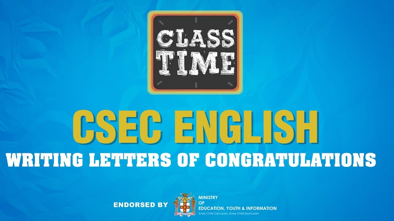 CSEC English | Writing Letters of Congratulations - May 28 2021 1