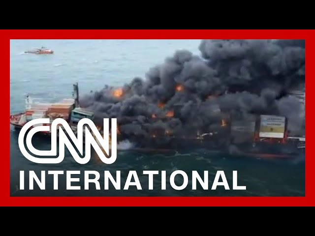 Burning ship may cause disastrous oil spill 6