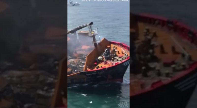 Fears of environmental disaster as oil-laden ship sinks off Sri Lanka after huge explosion #shorts 1