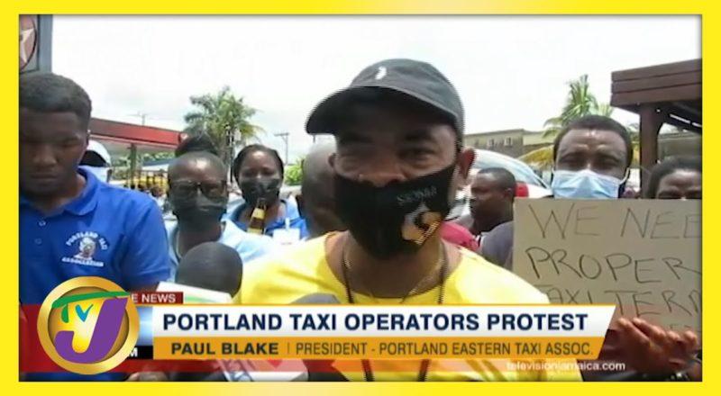 Taxi Operators Protest in Portland Jamaica   TVJ News - June 8 2021 1